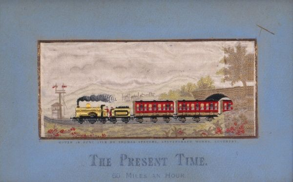 Embroidery picture showing a steam engine pulling several carriages at a speed of 60 miles per hour