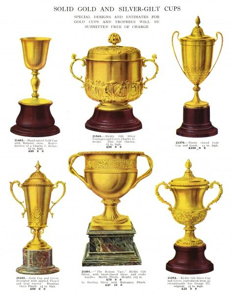 Presentation cups for men and women who have distinguished themselves by sporting prowess, intellectual achievement or giving money to the right people... Date: 1930