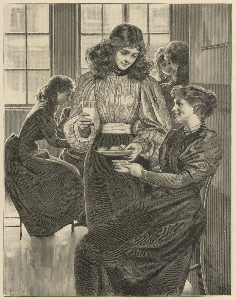 An Illustration accompanying an extract from Lily Watson's book 'A Child of Genius' showing Katharine giving Miss Percival, the drawing mistress, cake and milk