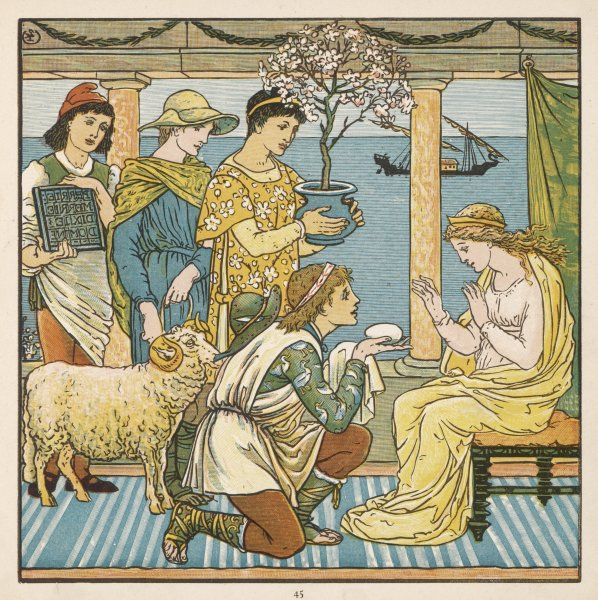 Four people each bring a present to a princess: a young man kneels and presents her with a large egg!