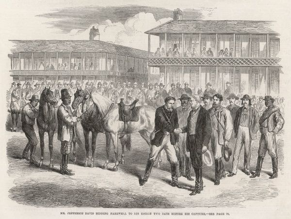 Engraving showing the President of the Confederate States, Jefferson Davis, bidding farewell to his escort towards the end of the American Civil War. Two days later Davis was captured by the Union Army