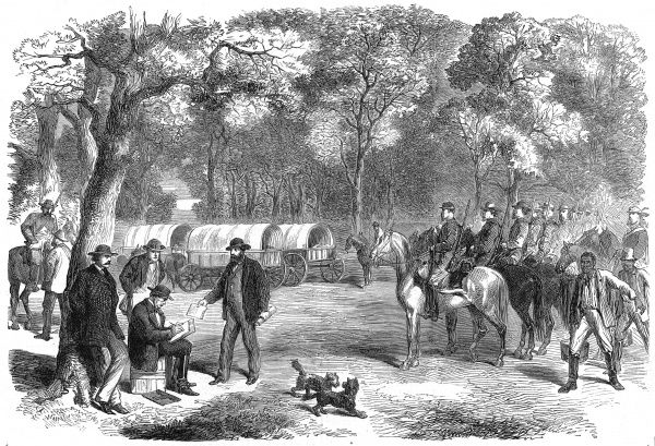 Engraving showing the President of the Confederate States, Jefferson Davis, signing an Act of Government by the roadside, 1865. In the last days of the American Civil War, the Confederate Government had to abandon it's capital, Richmond