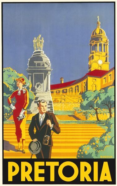 Travel poster encouraging visits to Pretoria in South Africa. Two stylishly-dressed tourists stand on the steps of the Union Buildings and look about