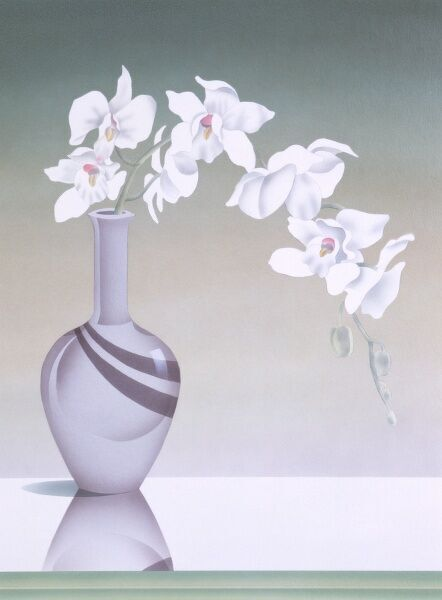 A couple of fronds of a pretty white orchid plant spill out of a glossy grey vase with a thin elegant stem. Airbush painting by Malcolm Greenwmith