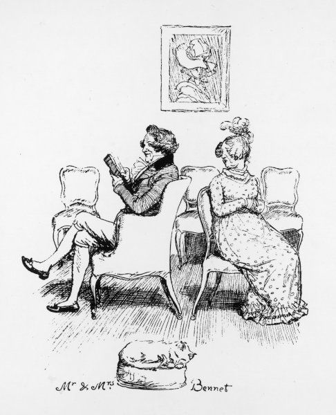 Mrs Bennet turns to speak to her husband, who is reading a book