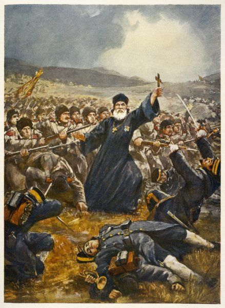 An enthusiastic priest, wearing medals as well as a crucifix, urges Russian troops on at the battle of Kiu-Lien- Cheng (Yalu), during the war with Japan ; but they lost
