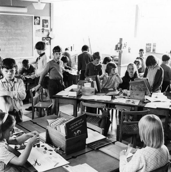 Lots of activities taking place at Walter Halls Primary School, Nottingham. Date: 1969