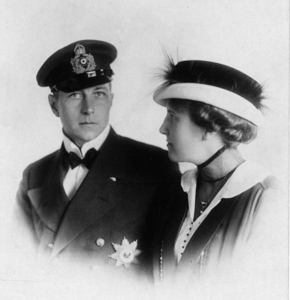 Prince Adalbert of Prussia (1884-1948), third son of Kaiser Wilhelm II, with his wife Adelheid of Saxe-Meiningen (1891-1971). The couple were married at the Naval base at Wilhelmshaven on 3rd August 1914, the day Germany declared war on France