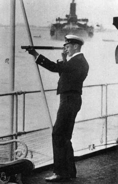 Prince Albert, Duke of York, later King George VI (1895-1952), as a midshipman on HMS Collingwood, in the summer of 1914. Prince Albert was the only child of George V, other than Prince Edward, who was old enough for active service. Unlike his brother