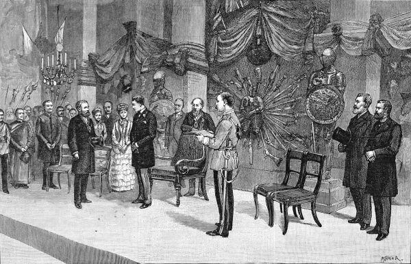 Engraving showing Prince Albert Victor (eldest son of Edward VII) during a visit to the Cutler's Hall in Sheffield in 1885