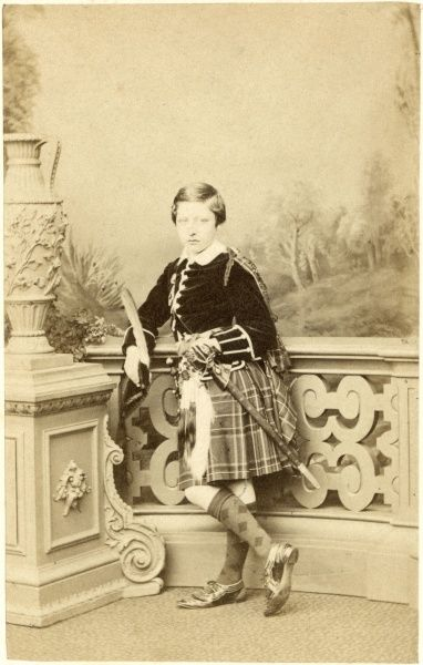 Prince Arthur, Duke of Connaught (1850-1942), third son and seventh child of Queen Victoria and Prince Albert. Photographed here by Mayall at the age of eleven wearing full Highland dress