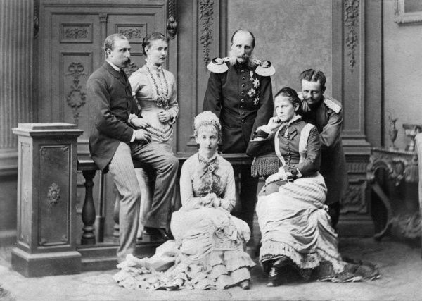Prince Arthur, Duke of Connaught (1850-1942) in 1878 with his fiancee Luise Margarete of Prussia and her sisters, Marie (centre, with her husband Prince Hendrik of the Netherlands) and Elisabeth (right, with her husband Duke Friedrich August