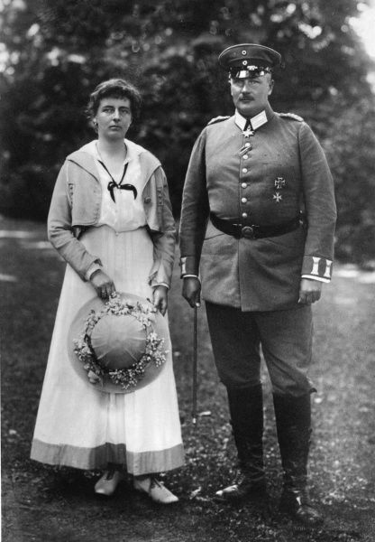 Prince Eitel Friedrich of Prussia (1883-1942), second son of Kaiser Wilhelm II, with his wife, Princess Sophie Charlotte of Oldenburg. Eitel Friedrich commanded the First Regiment of Guards through some of the worst fighting of World War I