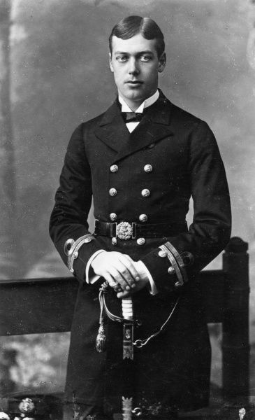Prince George of Wales, later Duke of York, Prince of Wales then King George V (1865-1936), pictured in 1884 in the naval uniform of a sub-lieutenant
