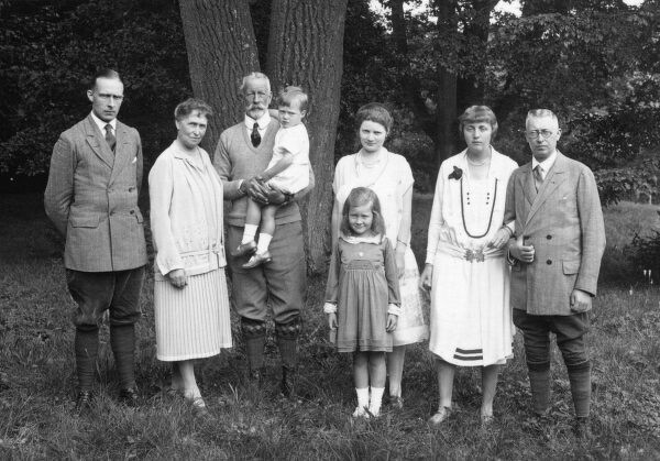 Prince Henry (Heinrich) of Prussia (1862-1929) in their garden at Hemmelmark near Eckernforde in 1927: (l to r) Prince Sigismund, his mother Princess Irene (formerly Princess Irene of Hesse), Prince Henry, holding their grandson Alfred (Sigismund's son)