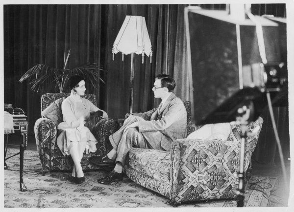 GUSTAV LENNART BERNADOTTE A grandson of Gustav V, known as Prince Lennart, chatting to his bride, Karen Nisavandt, in a film studio at Acton, London. They were married on 11 March 1932