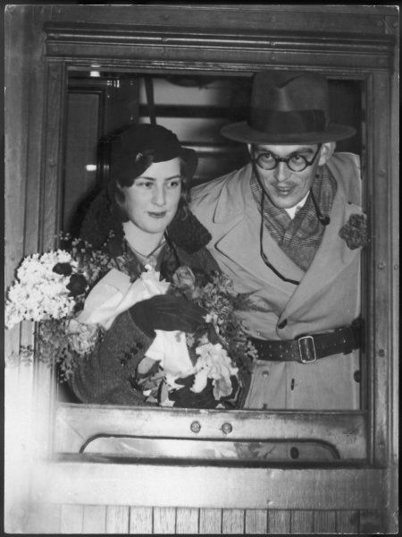 GUSTAV LENNART BERNADOTTE A grandson of Gustav V, known as Prince Lennart, photographed with his fiancee Karen Nisavandt, leaving Sweden by train to be married in London