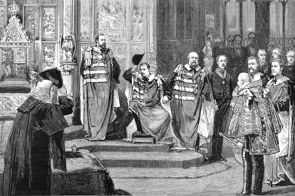 Installation of Prince Leopold, youngest son of Queen Victoria, as Duke of Albany in the House of Lords in 1881