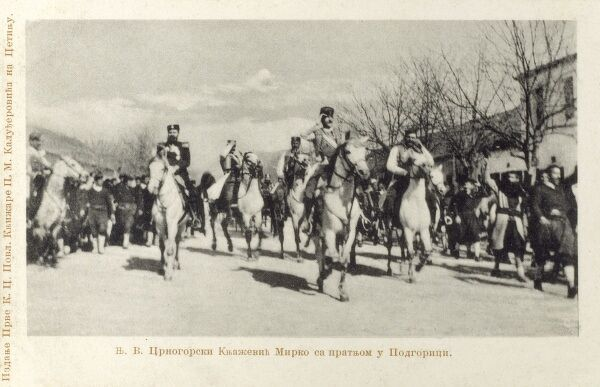 Prince Mirko and his escort, enter Podgorica, Montenegro on horseback Date: circa 1905