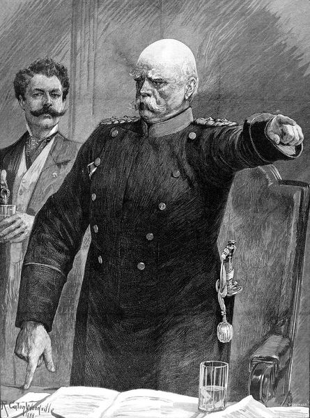 Engraving showing Prince Otto Edward Leopold von Bismarck, Duke of Lauenburg (1815-1898), the Prusso-German statesman and first Chancellor of the German Empire, pictured addressing the German Reichstag in 1888