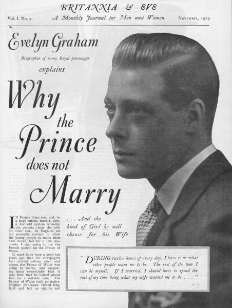 A magazine article speculating about the reasons why the Prince of Wales does not marry