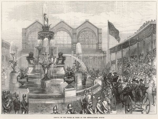 Engraving showing the horse-drawn carriage carrying the Prince of Wales arriving at the Bethnal Green Museum, London, in 1872. The Prince of Wales was there to officially open the building