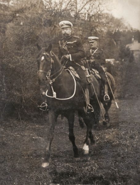 The Prince of Wales (soon to be George V) taking part in military manoeuvres near Aldershot in Hampshire