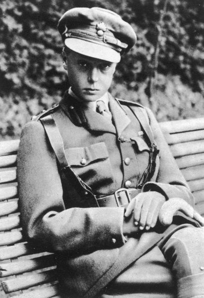 Edward, Prince of Wales, later Duke of Windsor, pictured in 1914 when he joined the Grenadier Guards