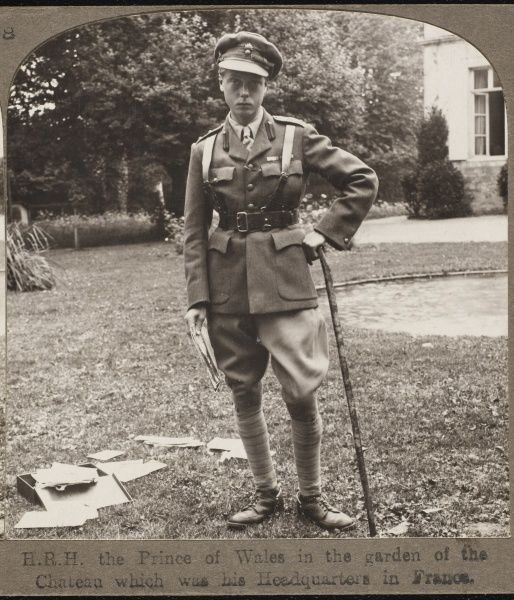 The Prince of Wales (later King Edward VIII) in the garden of the Chateau which was his headquarters in France during the First World War