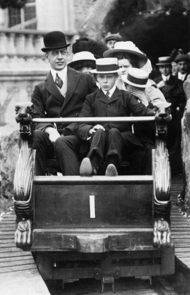 Princes Edward and Albert of Wales (later King Edward VIII and King George VI respectively) on the scenic railway, accompanied by their tutor