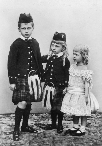 Princes Oskar (1888-1958) and Joachim (1890-1920) of Prussia with their sister, Princess Viktoria Luise (1892-1980), dressed in Highland attire. They were the younger children of Kaiser Wilhelm II and grandchildren of Vicky, Princess Royal of Great Britain