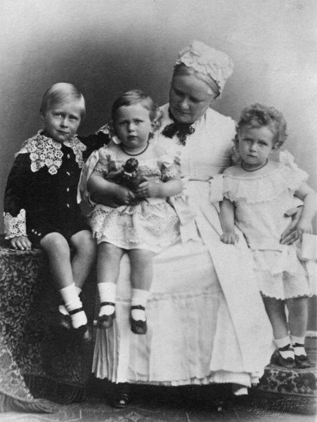 Princes Wilhelm (1882-1951), Eitel Friedrich (1883-1942 - on the right) and Adalbert (1884-1948) of Prussia, children of Kaiser Wilhelm II, grandchildren of Vicky, Dowager Empress of Prussia and Princess Royal of Great Britain, and great-grandchildren