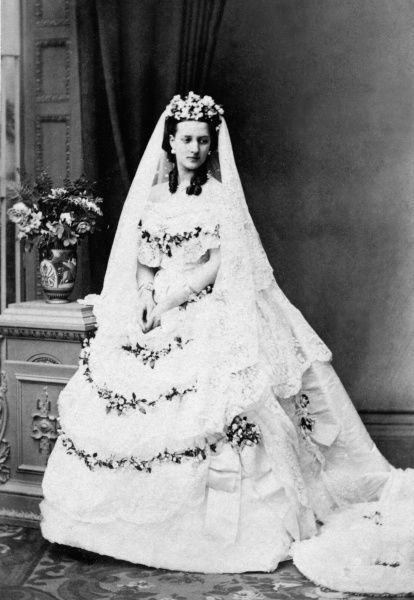 Princess Alexandra of Denmark, later Princess of Wales and Queen Alexandra (1844-1925) on her wedding day to Albert Edward, Prince of Wales, later King Edward VII in March 1863. Date: 1863