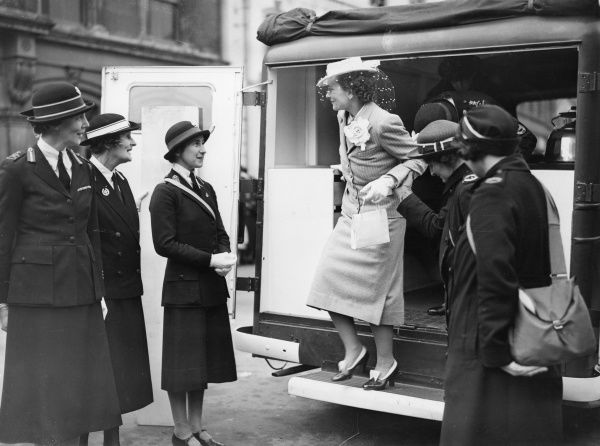 Princess Alice, Duchess of Gloucester (1901 - 2004) inspecting a mobile canteen presented to the British Red Cross and Order of St