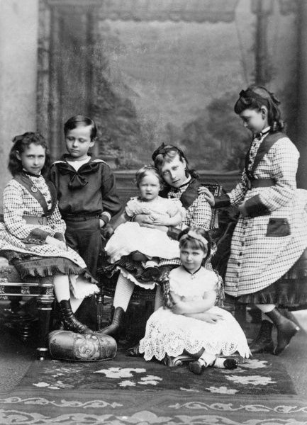 The children of Princess Alice, Grand Duchess of Hesse and Grand Duke Louis (Ludwig) of Hesse: (l to r) Irene, Ernst Ludwig, Marie ('May'), Victoria, Alix (in front - later Tsaritsa Alexandra Feodorovna) and Ella (Elisabeth) in about 1875