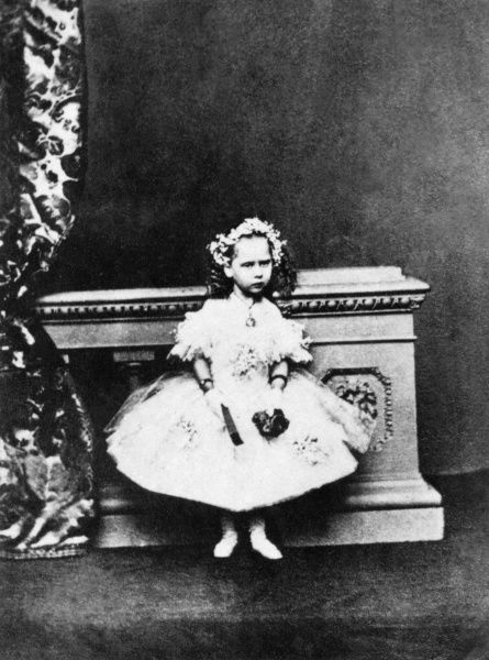 Princess Beatrice, later Priness Henry of Battenberg (1857-1944), fifth daughter and youngest child of Queen Victoria and Prince Albert photographed in 1860