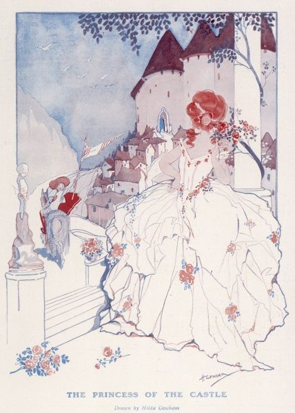Lovely illustration by Hilda Cowham showing a princess in a flounced, floral trimmed dress watching from the steps of her castle as a knight rides past and raises his flag or standard in her direction