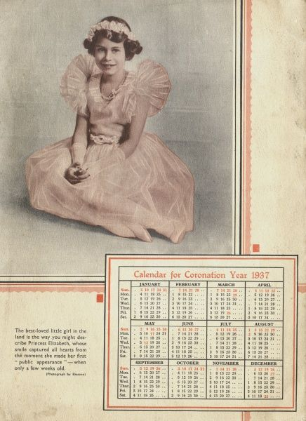 The future Queen Elizabeth II (b 1926) wearing a frilly pink dress and flowers in her hair on the back cover of a Coronation Year calendar. Date: 1937
