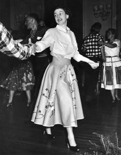 Princess Elizabeth (Queen Elizabeth II) dancing a Canadian Square Dance at Government House, Ottawa during he Royal Tour of 1951. Date: 1951