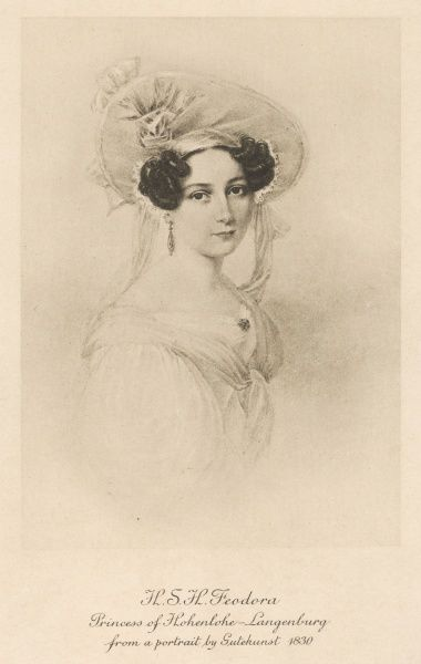 PRINCESS FEODORA OF HOHENLOHE LANGENBURG (1807-1872), daughter of the Duchess of Kent and Karl, Duke of Leiningen. Half-sister to Queen Victoria