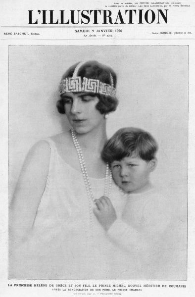 Portrait of Princess Helen of Greece, Crown Princess of Romania (1896-1982) together with her son, Prince Michael of Romania. The daughter of King Constantine of the Hellenes and Queen Sophie, and granddaughter of Vicky, Princess Royal and Empress of Prussia