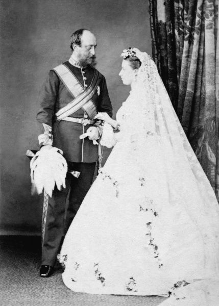 Princess Helena (1846-1923), third daughter and fifth child of Queen Victoria and Prince Albert pictured on her wedding day. She married Prince Christian of Schleswig-Holstein, a man fifteen years older than herself. Despite the age difference