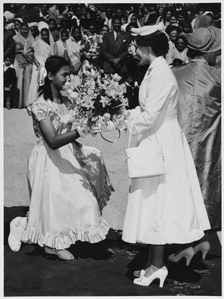 Miss Isabell Thornicroft presented a bouquet to Princess Margaret, when she opened the Princess Margaret Hospital for Asian & Coloured patients, Salisbury, Rhodesia