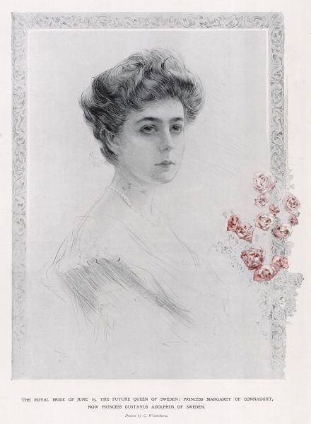 Princess Margaret ('Daisy') of Connaught (1882 - 1920), sketched by C. Wilmshurst just prior to her marriage to Prince Gustavus Adolphus of Sweden on 15 June 1905