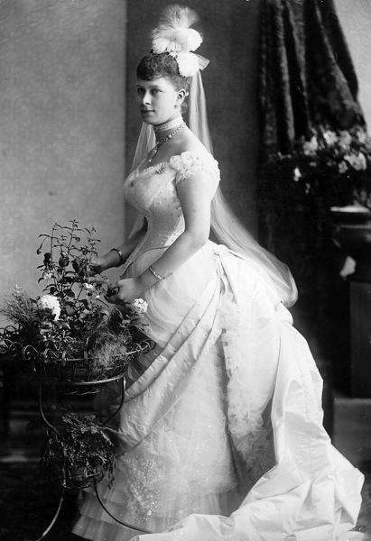 Photographic portrait of Princess May of Teck (1867-1953), pictured when a young woman, date unknown. She later married the Duke of York, who became King George V of Great Britain and North Ireland (1865-1936)