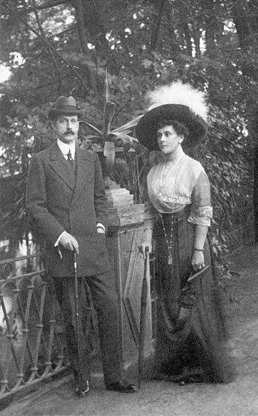 Princess Olga Valerianovna Paley (1865 - 1929), the second wife of Grand Duke Paul Alexandrovich of Russia (1860 - 1918) (pictured - left)