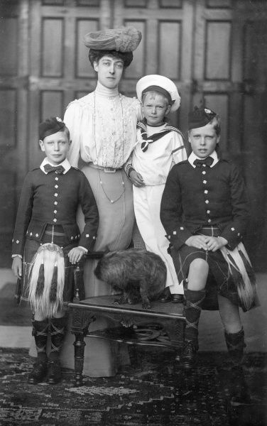 Princess Victoria of Wales (1868-1935) with her nephews, Edward (the future King Edward VIII), Albert (the future King George VI) and Henry (later the Duke of Gloucester) in 1904. Victoria ('Toria') never married and remained at home as her mother