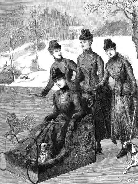 Front cover engraving showing the Alexandra, Princess of Wales, sledging on the lake at Sandringham in Norfolk with her daughters, Maud, Louise and Victoria