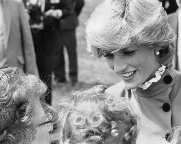 Lady Diana, Princess of Wales, speaking to two elderly ladies at the Recreation Ground, St. Columb, Cornwall