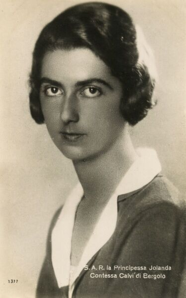 Princess Yolanda Margherita Milena Elisabetta Romana Maria of Savoy (1901 - 1986), the eldest daughter of King Victor Emmanuel III of Italy and his wife Princess Elena of Montenegro, and the sister of the last king of Italy Umberto II